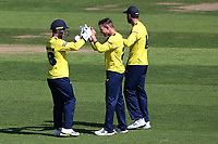 D'Arcy Short of Hampshire celebrates with his team mates after taking the wicket of Jimmy Neesham during Hampshire Hawks vs Essex Eagles, Vitality Blast T20 Cricket at The Ageas Bowl on 16th July 2021