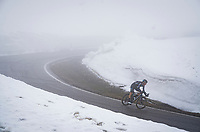 Romain Bardet (FRA/DSM) descending from the Passo Giau<br /> <br /> due to the bad weather conditions the stage was shortened (on the raceday) to 153km and the Passo Giau became this years Cima Coppi (highest point of the Giro).<br /> <br /> 104th Giro d'Italia 2021 (2.UWT)<br /> Stage 16 from Sacile to Cortina d'Ampezzo (shortened from 212km to 153km)<br /> <br /> ©kramon