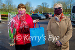 Kathleen Foley from Moyvane celebrating her birthday in the Listowel Town park on Thursday as she received presents from Pauline Galvin of the NCBI in Listowel
