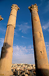 Jordan, Jerash. Columns at the Cardo, or colonnaded street&#xA;<br />
