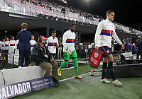 FORT LAUDERDALE, FL - DECEMBER 09: Aaron Long #3 Captain of USMNT leads his team out during a game between El Salvador and USMNT at Inter Miami CF Stadium on December 09, 2020 in Fort Lauderdale, Florida.