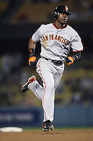 Fred Lewis of the San Francisco Giants during a game from the 2007 season at Dodger Stadium in Los Angeles, California. (Larry Goren/Four Seam Images)