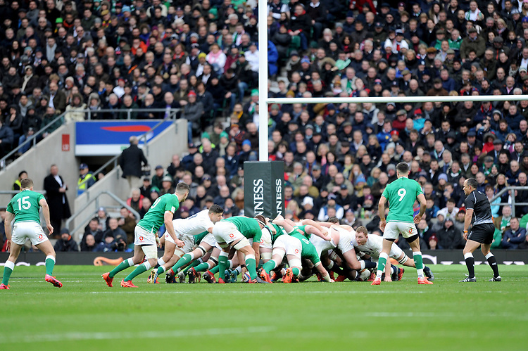 An Irish scrum in front of the posts during the Guinness Six Nations match between England and Ireland at Twickenham Stadium on Sunday 23rd February 2020 (Photo by Rob Munro/Stewart Communications)