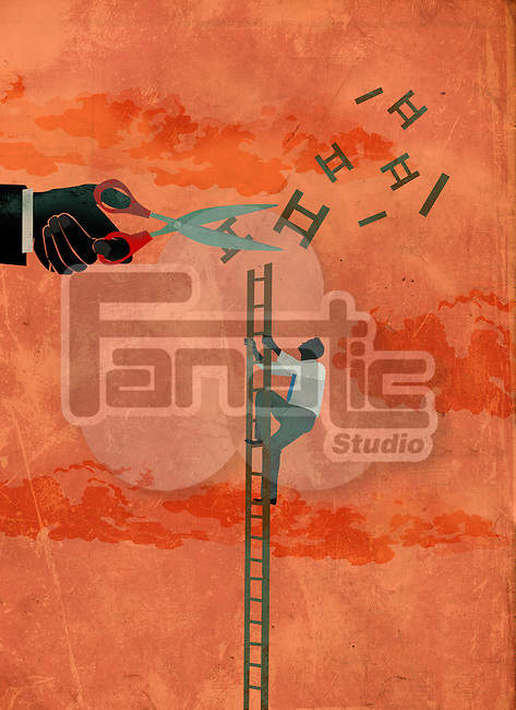 Illustration of determined businessman climbing ladder while hand cutting the way to sky