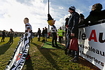 Darlington fans with flags and the Quaker mascot, wait to welcome the teams. Darlington 1883 v Southport, National League North, 16th February 2019. The reborn Darlington 1883 share a ground with the town's Rugby Union club. <br />