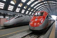 """- high-speed trains at Central Station in Milan, right the """"Red Arrow""""....- treni ad alta velocità alla Stazione Centrale di Milano, a destra la """"Freccia Rossa"""""""