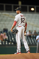 Salt River Rafters pitcher Myles Smith (52) looks in for the sign during an Arizona Fall League game against the Scottsdale Scorpions on October 14, 2015 at Scottsdale Stadium in Scottsdale, Arizona.  Scottsdale defeated Salt River 13-3.  (Mike Janes/Four Seam Images)