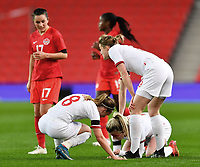 13th April 2021; Bet365 Stadium, Stoke, England; Beth Mead  of England is injured during the womens International Friendly match between England and Canada