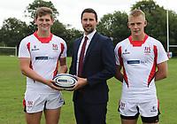 Ulster Rugby Schools 2018-2019<br /> <br /> Bangor Grammar School  players Gareth Wells and Riley Westwood with Danske Bank representative Ian Russell.<br /> <br /> Photo by John Dickson / DICKSONDIGITAL