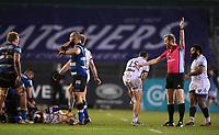 19th February 2021; Recreation Ground, Bath, Somerset, England; English Premiership Rugby, Bath versus Gloucester; Referee Wayne Barnes awards a penalty to Bath