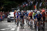 Julian Alaphilippe (FRA/Deceuninck - Quick Step) next to Mathieu van der Poel (NED/Alpecin-Fenix) up the Keizersberg<br /> <br /> Elite Men World Championships - Road Race<br /> from Antwerp to Leuven (268.3km)<br /> <br /> UCI Road World Championships - Flanders Belgium 2021<br /> <br /> ©kramon