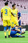 Luis Alberto Suarez Diaz (bottom) of FC Barcelona lies injured during the La Liga 2017-18 match between FC Barcelona and Las Palmas at Camp Nou on 01 October 2017 in Barcelona, Spain. (Photo by Vicens Gimenez / Power Sport Images