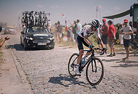 Wout Poels (NED/SKY) at the end of pavé sector #9<br /> <br /> Stage 9: Arras Citadelle > Roubaix (154km)<br /> <br /> 105th Tour de France 2018<br /> ©kramon