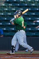 Luis Guillorme (13) of the Savannah Sand Gnats follows through on his swing against the Hickory Crawdads at L.P. Frans Stadium on June 15, 2015 in Hickory, North Carolina.  The Crawdads defeated the Sand Gnats 4-1.  (Brian Westerholt/Four Seam Images)