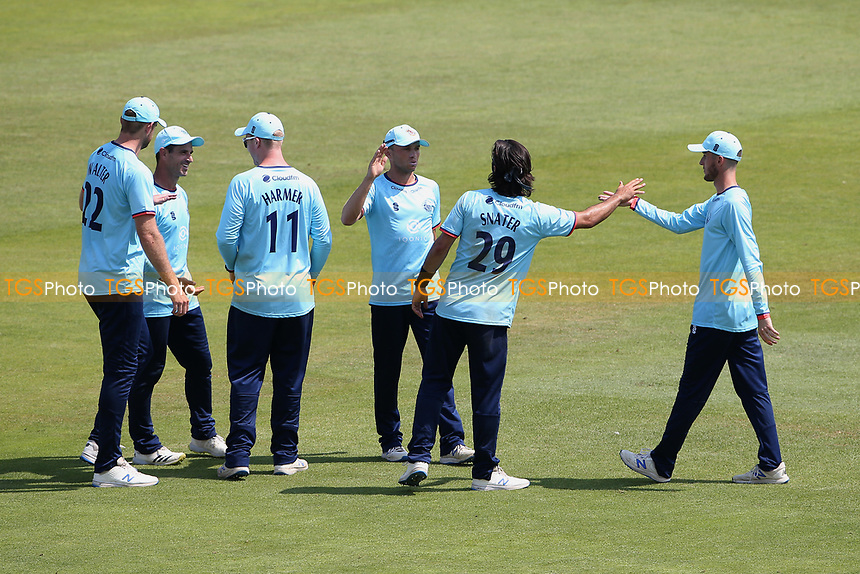 Shane Snater of Essex celebrates with his team mates after taking the wicket of Lewis McManus during Hampshire Hawks vs Essex Eagles, Royal London One-Day Cup Cricket at The Ageas Bowl on 22nd July 2021