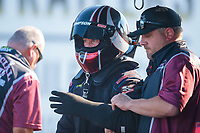Aug 8, 2020; Clermont, Indiana, USA; NHRA top fuel driver Pat Dakin with crew member during qualifying for the Indy Nationals at Lucas Oil Raceway. Mandatory Credit: Mark J. Rebilas-USA TODAY Sports