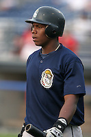 Mahoning Valley Scrappers Cirilo Cumberbatch during a NY-Penn League game at Dwyer Stadium on July 30, 2006 in Batavia, New York.  (Mike Janes/Four Seam Images)