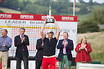 Frenchman Gregory Bourdy celebrates winning the ISPS Handa Wales Open 2013 at the Celtic Manor Resort.<br /> <br /> 01.09.13<br /> <br /> ©Steve Pope-Sportingwales