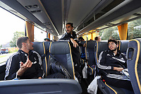 Wednesday 07 August 2013<br /> Pictured L-R: Angel Rangel, Chico Flores and Alejandro Pozuelo on the coach, en route to Cardiff Airport.  <br /> Re: Swansea City FC travelling to Sweden for their Europa League 3rd Qualifying Round, Second Leg game against Malmo.