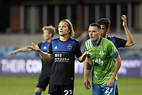 SAN JOSE, CA - OCTOBER 18: Florian Jungwirth #23 of the San Jose Earthquakes and Shane O'Neill #27 of the Seattle Sounders during a game between Seattle Sounders FC and San Jose Earthquakes at Earthquakes Stadium on October 18, 2020 in San Jose, California.