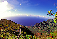 The incomparable Kalalau Lookout overlooking the pristine and inaccessible valley at Kokee State Park on the island of Kauai.