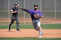 Colorado Rockies third baseman LJ Hatch (45) during a Minor League Spring Training game against the Milwaukee Brewers at Salt River Fields at Talking Stick on March 17, 2018 in Scottsdale, Arizona. (Zachary Lucy/Four Seam Images)