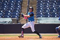 Tampa Tarpons Trevor Hauver (17) bats during a game against the Dunedin Blue Jays on May 9, 2021 at George M. Steinbrenner Field in Tampa, Florida.  (Mike Janes/Four Seam Images)