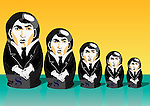Russian nesting dolls with businesspeople theme