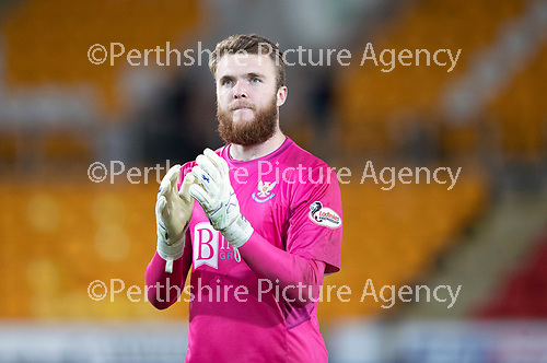 St Johnstone v Celtic…26.09.18…   McDiarmid Park     BetFred Cup Quarter Final<br />Zander Clark applauds the fans at full time<br />Picture by Graeme Hart. <br />Copyright Perthshire Picture Agency<br />Tel: 01738 623350  Mobile: 07990 594431