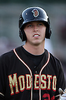 Corey Dickerson #23 of the Modest Nuts before a game against the Inland Empire 66'ers at San Manuel Stadium on April 16, 2012 in San Bernardino,California. Inland Empire defeated Modesto 4-3.(Larry Goren/Four Seam Images)