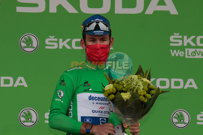 Mark Cavendish (GBR) Deceuninck-Quick Step retains the points Green Jersey at the end of Stage 17 of the 2021 Tour de France, running 178.4km from Muret to Saint-Lary-Soulan Col du Portet, France. 14th July 2021.  <br /> Picture: Colin Flockton   Cyclefile<br /> <br /> All photos usage must carry mandatory copyright credit (© Cyclefile   Colin Flockton)