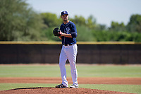 San Diego Padres pitcher Walker Lockett (34) prepares to deliver a pitch to the plate during an Instructional League game against the Milwaukee Brewers on September 27, 2017 at Peoria Sports Complex in Peoria, Arizona. (Zachary Lucy/Four Seam Images)