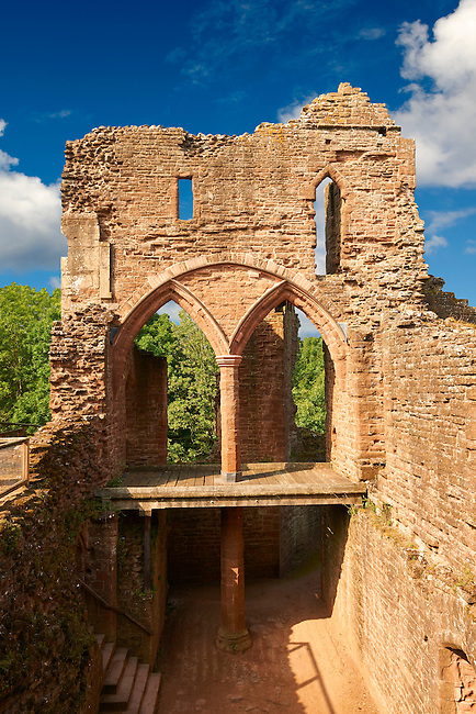The 12th century medieval Norman ruins of Goodrich Castle, Goodrich, Herefordshire, England