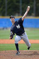Pitcher Ethan Carnes (55) of the New York Yankees organization during a minor league spring training game against the Toronto Blue Jays on March 16, 2014 at the Englebert Minor League Complex in Dunedin, Florida.  (Mike Janes/Four Seam Images)
