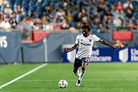 FOXBOROUGH, MA - AUGUST 18: Chris Odoi-Atsem #3 of D.C. United passes the ball during a game between D.C. United and New England Revolution at Gillette Stadium on August 18, 2021 in Foxborough, Massachusetts.