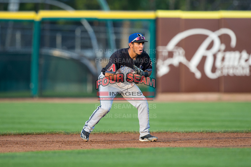 Missoula Osprey second baseman Jose Caballero (19) on defense against the Billings Mustangs at Dehler Park on August 21, 2017 in Billings, Montana.  The Osprey defeated the Mustangs 10-4.  (Brian Westerholt/Four Seam Images)