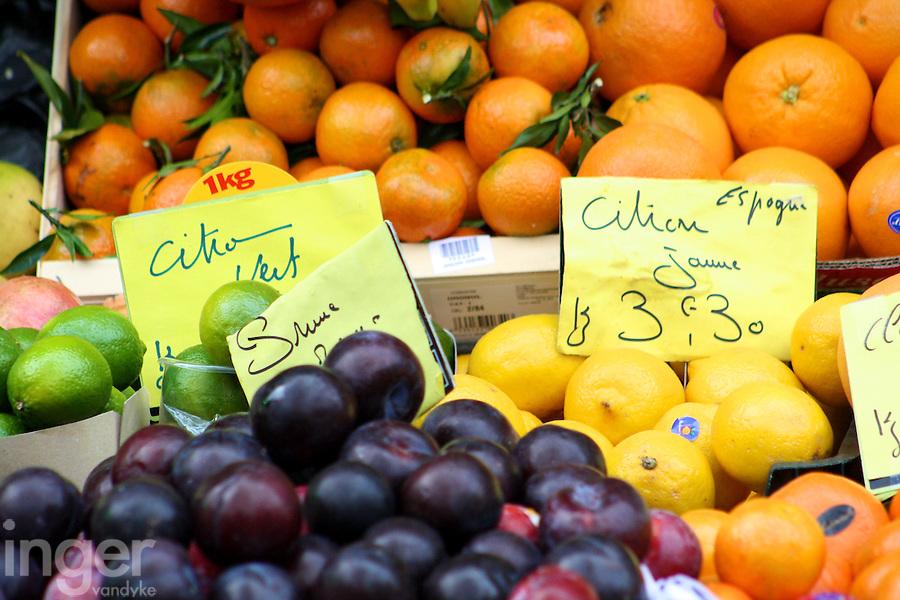Fruit vendor stall in Paris, France