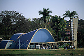 Belo Horizonte, Brazil. The front of the Church of San Francisco de Assis in Pampulha, built by architect Oscar Niemeyer.