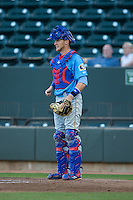 Myrtle Beach Pelicans catcher Cael Brockmeyer (9) on defense against the Winston-Salem Dash at BB&T Ballpark on April 18, 2016 in Winston-Salem, North Carolina.  The Pelicans defeated the Dash 6-4.  (Brian Westerholt/Four Seam Images)