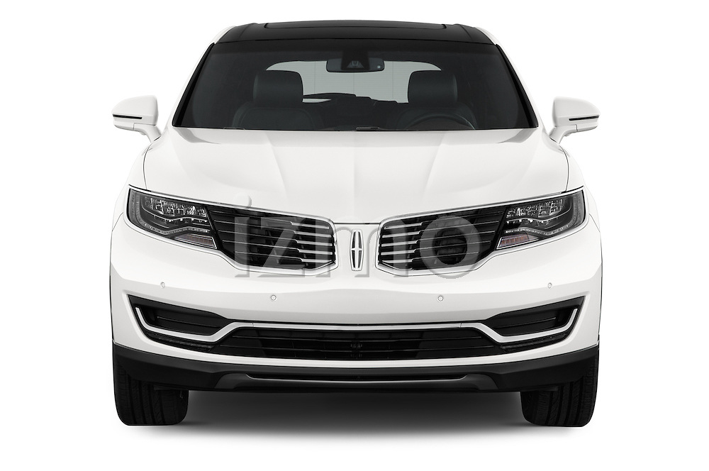 Car photography straight front view of a 2018 Lincoln MKX Black Label 5 Door Suv Front View
