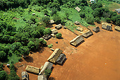 A-Ukre,Para state, Brazil. Aerial view of part of the circle of a Kayapo Indian village of thatched houses in the Amazon rainforest.