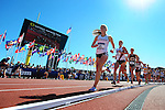 13 JUNE 2015: Emily Sisson of Providence leads the pack around the track on her way to winning the NCAA Championship in the Women's 5000 meters during the Division I Men's and Women's Outdoor Track & Field Championship held at Hayward Field in Eugene, OR. Sisson won the race in a time of 15:34.10. Steve Dykes/ NCAA Photos