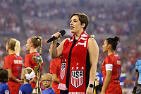 CHARLOTTE, NC - OCTOBER 3: Anthem singer during a game between Korea Republic and USWNT at Bank of America Stadium on October 3, 2019 in Charlotte, North Carolina.