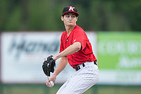 Kannapolis Intimidators starting pitcher Jimmy Lambert (8) in action against the Charleston RiverDogs at Kannapolis Intimidators Stadium on August 3, 2016 in Kannapolis, North Carolina.  The Intimidators defeated the RiverDogs 8-4.  (Brian Westerholt/Four Seam Images)
