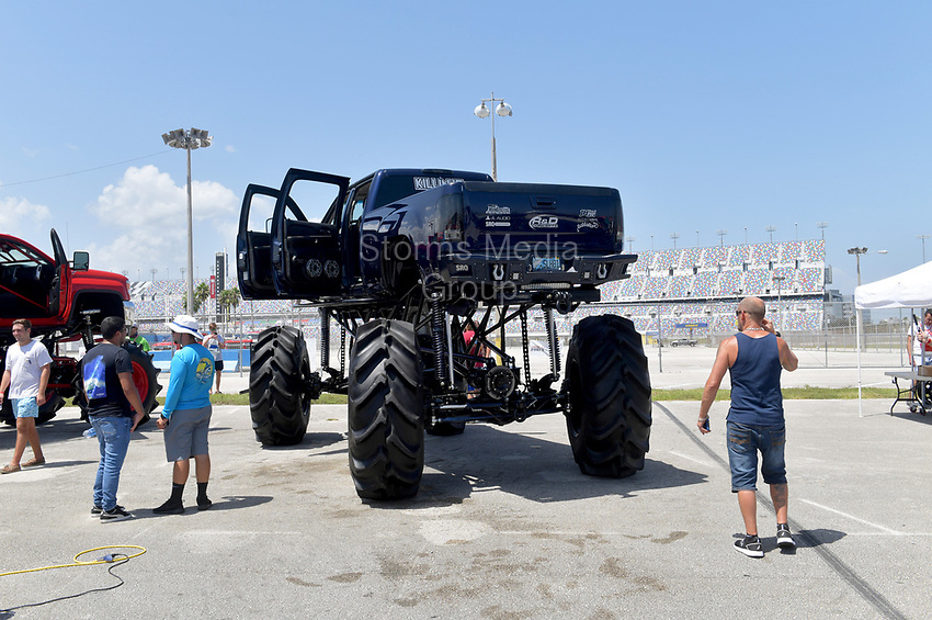 DAYTONA BEACH, FL - SEPTEMBER 05:  General Views at the 2020 Daytona Truck Meet which is The LARGEST truck show in the world! PRESENTED BY AMERICAN FORCE WHEELS with over 35,000 spectators, 100s of vendors, burn out pit, and live entertainment. Trucks are all the rage with Celebrities like Shaquille O'Neal, Lady GaGa, Dwayne Johnson and Kid Rock just to name a few at Daytona International Speedway on September 5, 2020 in Daytona Beach, Florida.<br /> <br /> People:  General Views