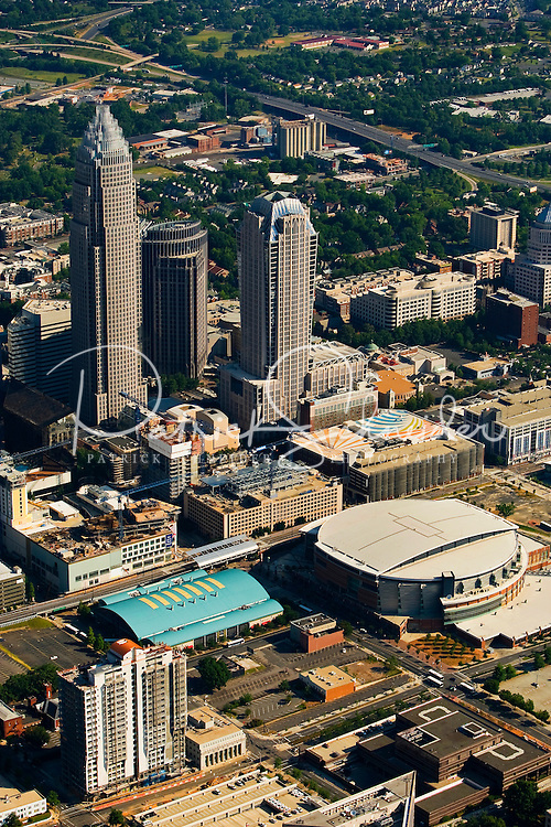 Aerial view of Time Warner Cable Arena in Charlotte, NC.
