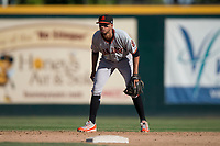 San Jose Giants shortstop Brandon Van Horn (9) during a California League game against the Modesto Nuts at John Thurman Field on May 9, 2018 in Modesto, California. San Jose defeated Modesto 9-5. (Zachary Lucy/Four Seam Images)