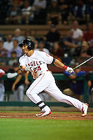 Scottsdale Scorpions Michael Hermosillo (24), of the Los Angeles Angels of Anaheim organization, during a game against the Salt River Rafters on October 20, 2016 at Scottsdale Stadium in Scottsdale, Arizona.  Scottsdale defeated Salt River 4-1.  (Mike Janes/Four Seam Images)