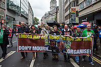 (From L to R) Len McCluskey (General Secretary of Unite), Frances O'Grady (Trades Union Congress, TUC General Secretary), Jeremy Corbyn MP (Labour Member of Parliament for Islington North) & Peter Pinkney (RMT President).<br /> <br /> London, 01/05/2014. Thousands of people marched in central London to celebrate the International Workers' Day dedicated this year to the two great leaders, Bob Crow (General Secretary & leader of the Rail Maritime and Transport Union, RMT) and Tony Benn (Former Labour Cabinet Minister, Socialist and leading left-wing and anti-war campaigner), both passed away in March 2014. The rally started in Clerkenwell Green and ended in Trafalgar Square where speakers gave speeches remembering the two late leaders, in defence of worker's rights, in protest against the coalition Government spending cuts and policies, and in support and solidarity with the other demonstrations held around the world.