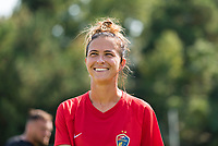 CARY, NC - SEPTEMBER 12: Carson Pickett #4 of the NC Courage exits the field after warming up before a game between Portland Thorns FC and North Carolina Courage at WakeMed Soccer Park on September 12, 2021 in Cary, North Carolina.